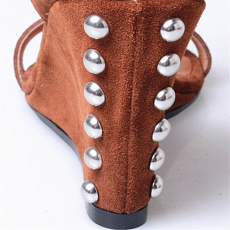Style Hauts Toe Prova Printemps Cuir Vache Nouveau En Brown Sandales forme Talons De belge Rivet Plate Chaussures Suède Été Wedge 2018 Ouverts Perfetto wFZXOFf