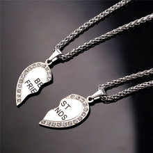 Heart Necklace Friendship Jewelry Friend Pendant & Chains Gold Color Stainless Steel Best Friend Couple Necklace