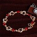 Сладкий дизайн ювелирные изделия 1 шт. Позолоченные форме сердца Австрийский хрусталь элегантный блестящий браслет на продажу для подарка