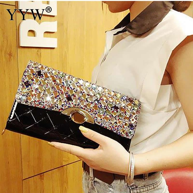 YYW Fashion Clutch Bag Top Selling Handbags Rhinestone Luxury Evening Party Bags For Women Rectangle Pu Leather Envelope Bolsas
