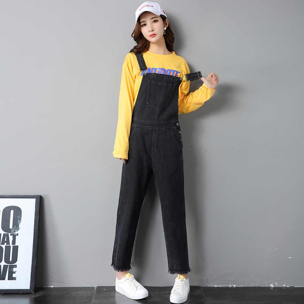 36a1cd7764f ... 2018 Denim Jumpsuits Women Vaqueros Romper Long Pants Female Black  Denim Overalls Suspender Female Slim jeans ...