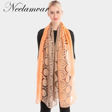Neelamvar scarf womens  flowers gradient long wraps high quality hijab foulard soft organza silk scarves