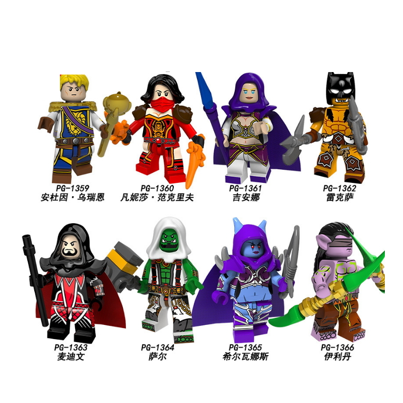 Legoings Building Blocks Super Heroes Anduin Wrynn Jaina Rexxar Medivh Thrall Sylvanas Brick Figures Toys For Children PG8165