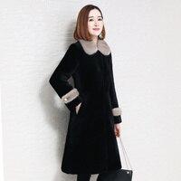 Зимние новые женские меховые пальто, большие размеры, натуральное меховое пальто, женское длинное пальто из овечьей шерсти, воротник из нор