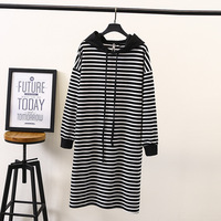 100kg Big yards lady long style leisure in couture autumn show thin stripes hooded dresses loose female pencil dress