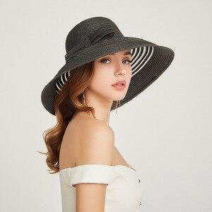 Image 4 - 2019 New Style Women Summer Beach Hat Bow knot Accent Ladies Striped Wide Brim Floppy Sun Hat  Kentucky Derby Paper Straw Hat