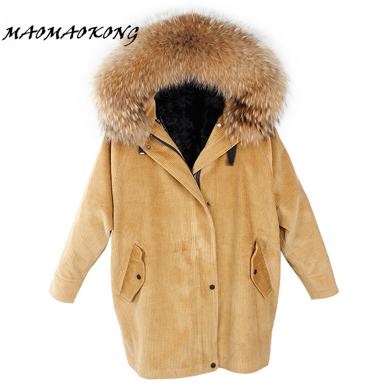 2017 new winter jacket coat women parka fur coat Corduroy real raccoon fur collar warm thick lamm fur wool liner parkas