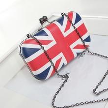 Frauen tageskupplung handy taschen clip box Union Jack kleine abendtasche kette handtasche