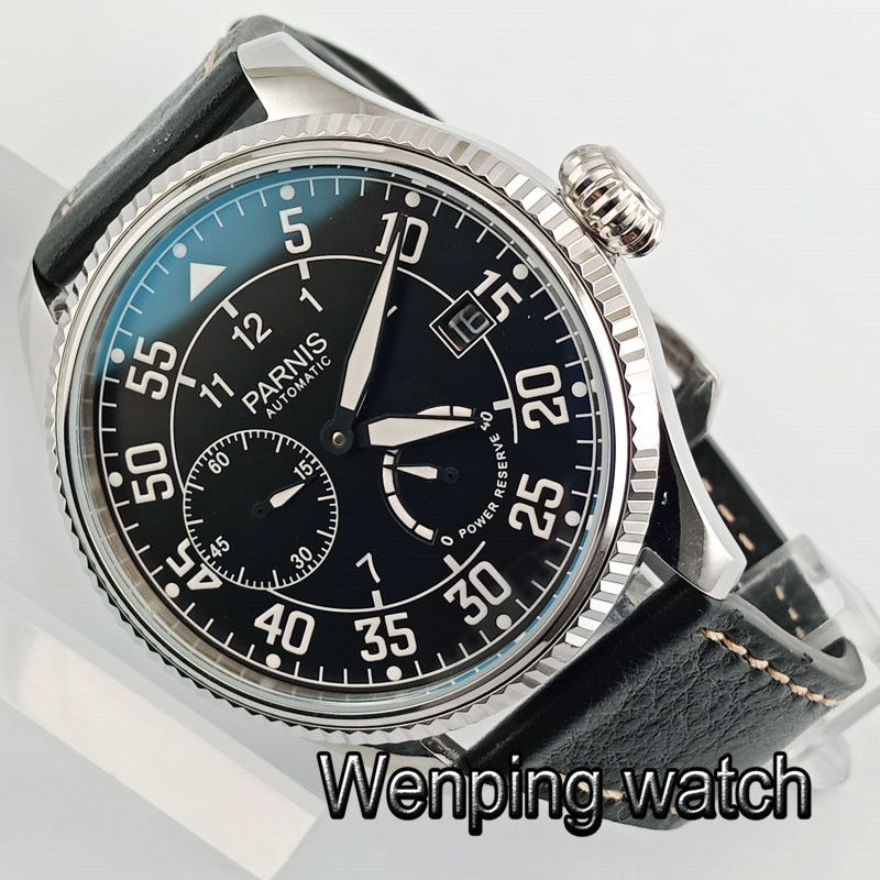 Fashion Classic Parnis Brands Watch <font><b>ST2530</b></font> Man Power Reserve Mechanical Watch Leather Waterproof Pilot Automatic Watch for Men image