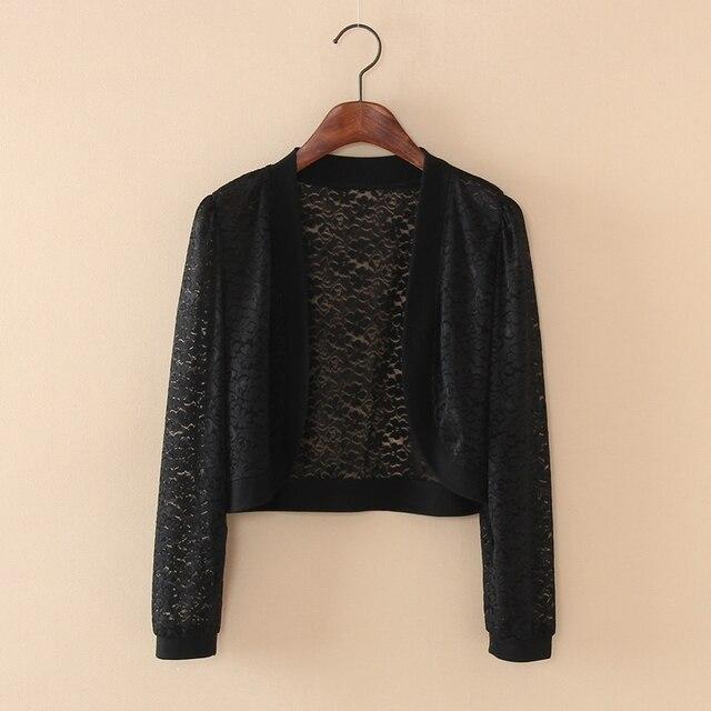 Wraps Jackets 2019 Women Ladies Short Sleeve Cropped Shrug White Black Lace Accessories Jacket V Neck 8
