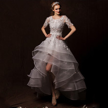 2016 lace After short before long lace Wedding Dress with half sleeve flowers tiered pearls brides dresses new Fashion vestidos tiered bell sleeve fitted lace dress