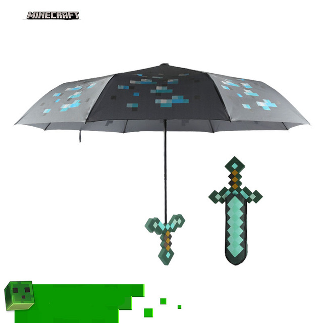 36cm Minecraft Blue Diamond Sword Umbrella Three Fold Sunny Day And