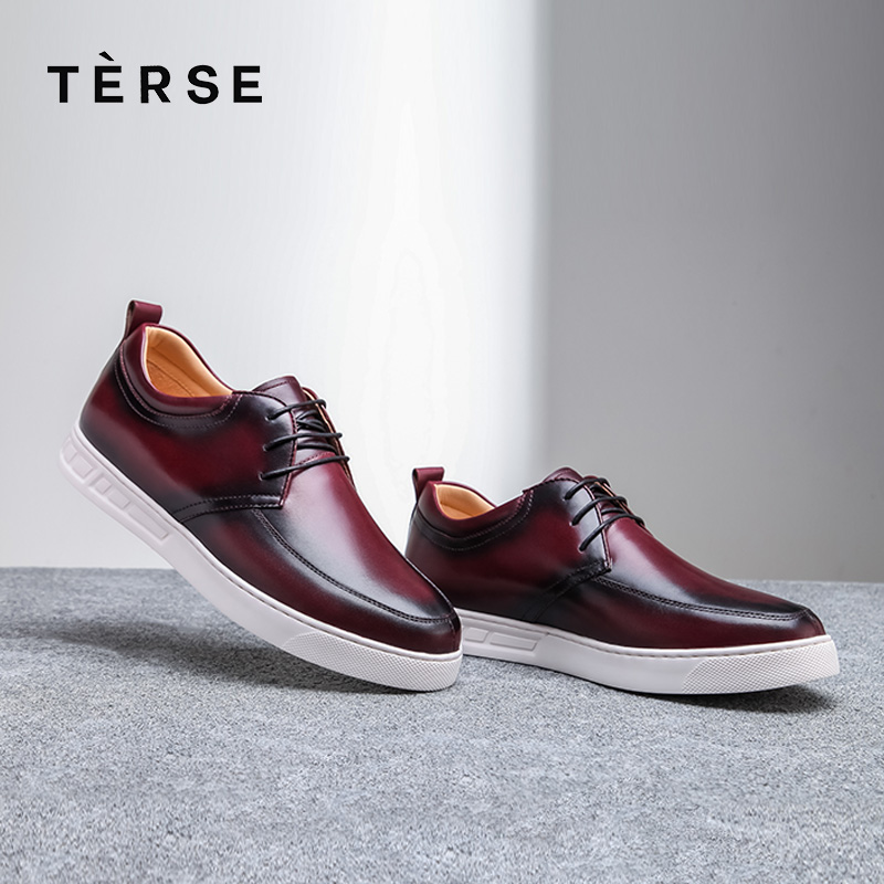 TERSE_Handmade Genuine Leather Shoes Men In Burgundy Color Upscale Shoes Custome Service Lace-Up Moccasins Footwear Male 003-1 fashion lace up hollow front crop top in burgundy