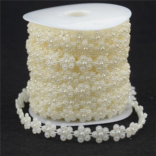 Chaîne de perles artificielles 3 mètres   Ligne de pêche Style prune, perles, guirlande de fleurs, fournitures de décoration pour réception de mariage, Beige/blanc