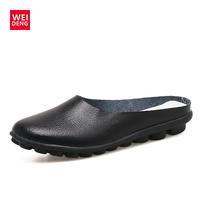Weideng Summer Women Half Slippers Shoes Casual Slip on Breathable Leather Shoes Woman Slides Outside Pure Color Slippers