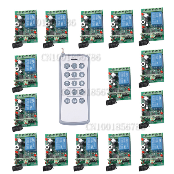 15Receiver 1Transmitter Wireless Controller Remote Control Relay LED Learn Code Long Range DC24V 1CH RF Remote Control Switch long range remote control switch dc 12v 1 ch 10a relay 4 receiver 1 transmitter learning code 315 433 4204