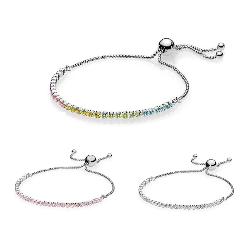 766c3d4a4 Summer 925 Sterling Silver Multi-Color Sparkling Strand pandora Bracelet Fit  Original Women Bead Charm Bangle ...