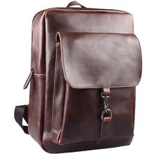 Soft Leather men's backpack preppy style backpack school bag college bag travel bag shoulder men bags daypacks  mochila feminina