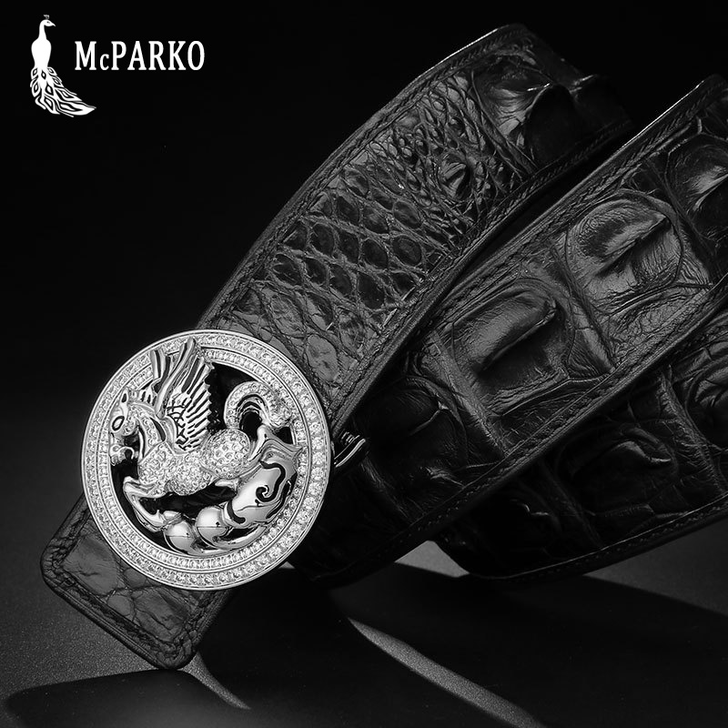 Précieux crocodile ceinture hommes de luxe en cuir véritable alligator taille ceinture 3.8 cm noir marron ceinture boucle avec strass
