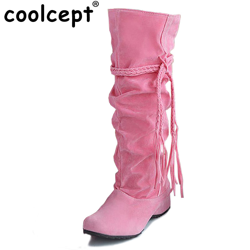 цены на Coolcept women flat over knee boots ladies riding long snow boot warm winter brand botas footwear shoes P16046 EUR size 34-43 в интернет-магазинах