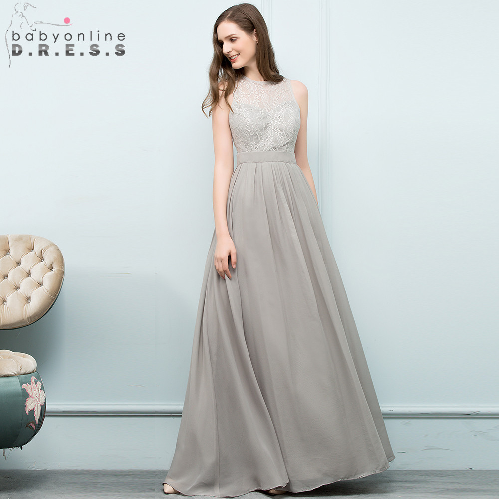New Arrival Gray Lace A Line Halter Bridesmaid Dresses 2018 Chiffon ...