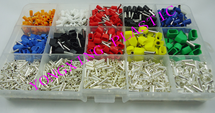 2590pcs/set 8 Color 15 size Twin Cord End Terminals Electrical Crimp Crimper cord wire end  insulated terminal block 2340pcs lot mixed 15 models dual bootlace ferrule kit electrical crimp crimper cord wire end terminal block