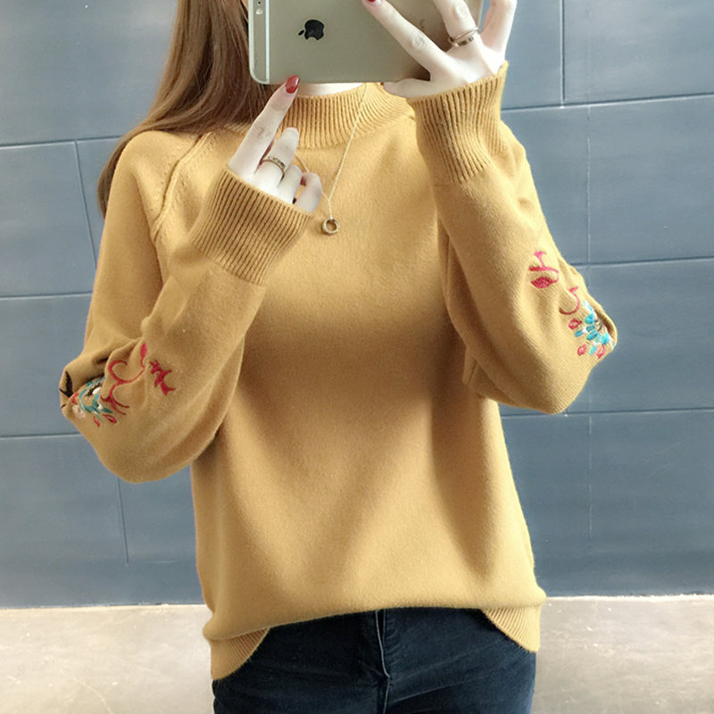 2018 Sweater female short design pullover loose outerwear top womens embroidery flower long-sleeve sweater