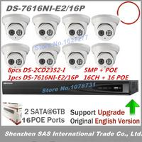 8pcs Hikvision DS 2CD2042WD I 4MP IR Bullet Network Camera P2P POE Hikvision NVR DS 7616NI