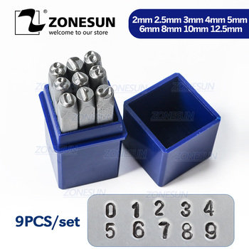 ZONESUN 9PCS Carbon Staal Antieke Tinnen Nummer
