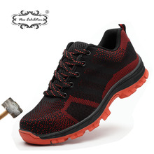 New Exhibition Men Breathable flying woven mesh safety shoes Anti-piercing Steel Toe Work Boots Outdoor Protective sneaker 35-48 new exhibition men fashion safety shoes breathable flying woven anti smashing steel toe caps anti piercing fiber mens work shoes