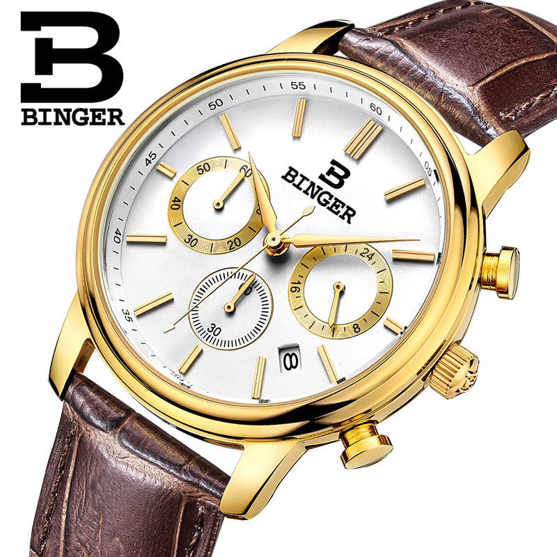 Switzerland BINGER watches men luxury brand Quartz waterproof Chronograph Stop Watch leather strap Wristwatches B9005-4 switzerland binger men s watch luxury brand tonneau quartz waterproof leather strap wristwatches b3038