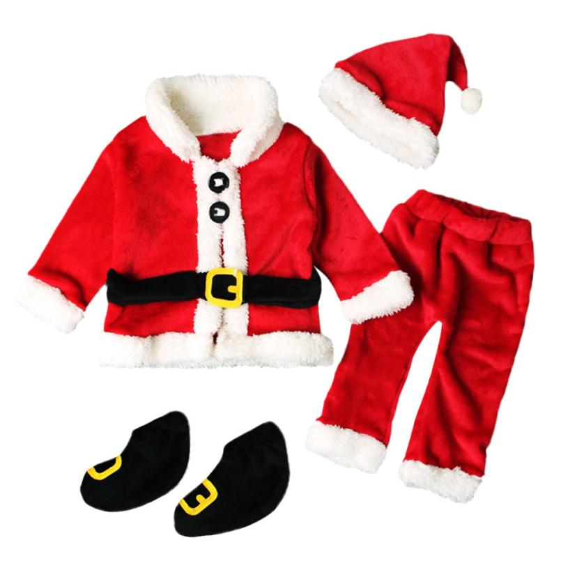 newborn boys girls Christmas Santa Claus infant New Year clothes 4PCS Santa Christmas Tops Pants Hat Socks Outfit Set Costume new christmas caps funny red white fashion adult santa claus skullies cotton blend xmas beanies christmas costume unisex caps