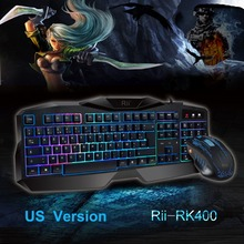 Venta caliente Rojo/Púrpura/Azul de luz de Fondo LED Pro Gaming Keyboard RK400 Powered USB Wired Gamer Teclado con ratón para LOL Dota 2