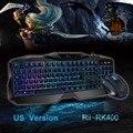 Venda quente Vermelho/Roxo/Azul Luz de Fundo LED Pro Gaming Keyboard RK400 Alimentado Gamer Teclado com mouse USB Com Fio para LOL Dota 2