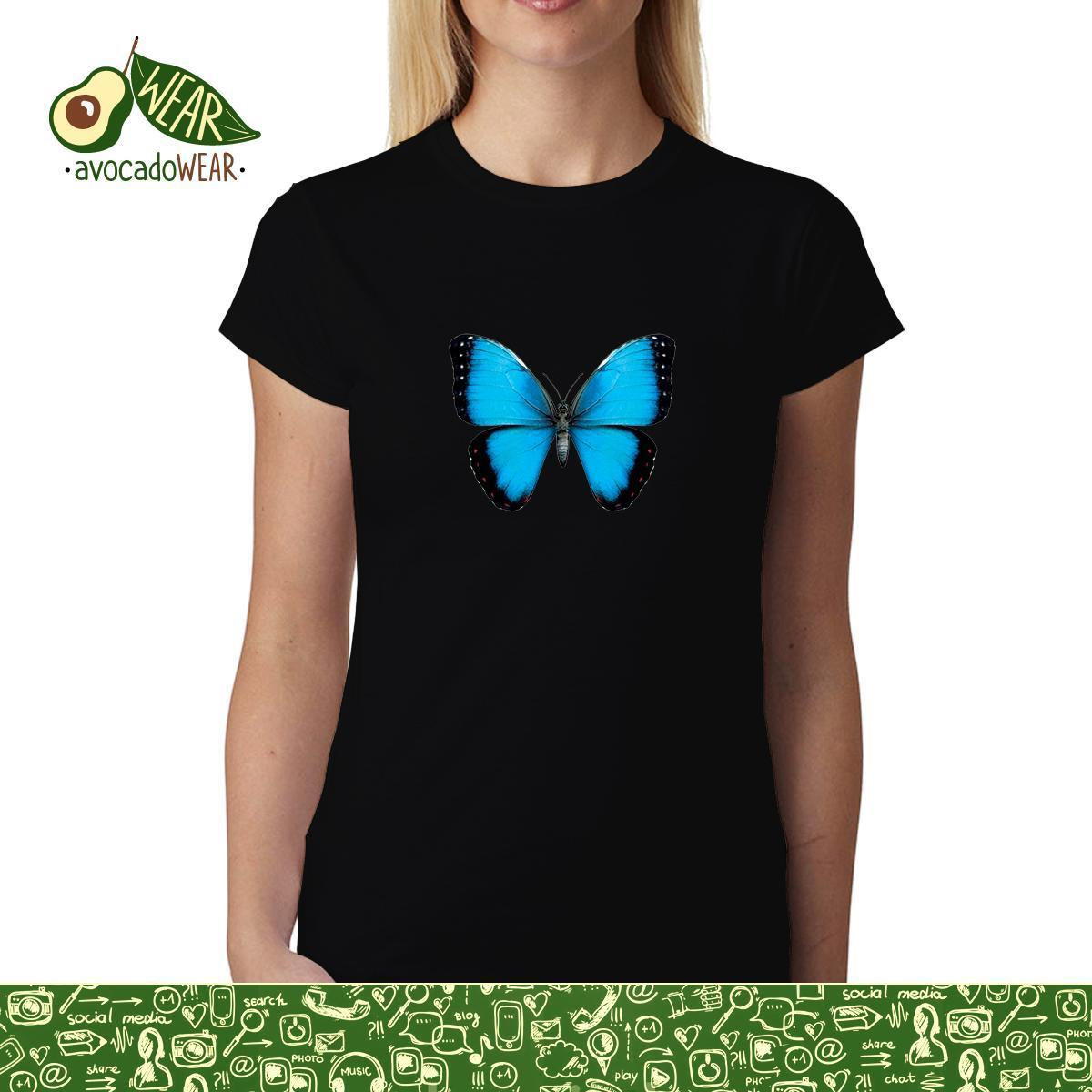 Blue Butterfly Animals Women  menT-shirt S-3XL NewT Shirts Tops Tee New Unisex Funny High Quality Casual Printing 100% Cotton