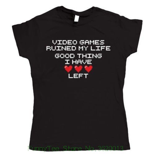 Womens Tee Video Games Ruined My Life , Womens Funny Gaming T Shirt Design T-shirts Novelty Tops Tee