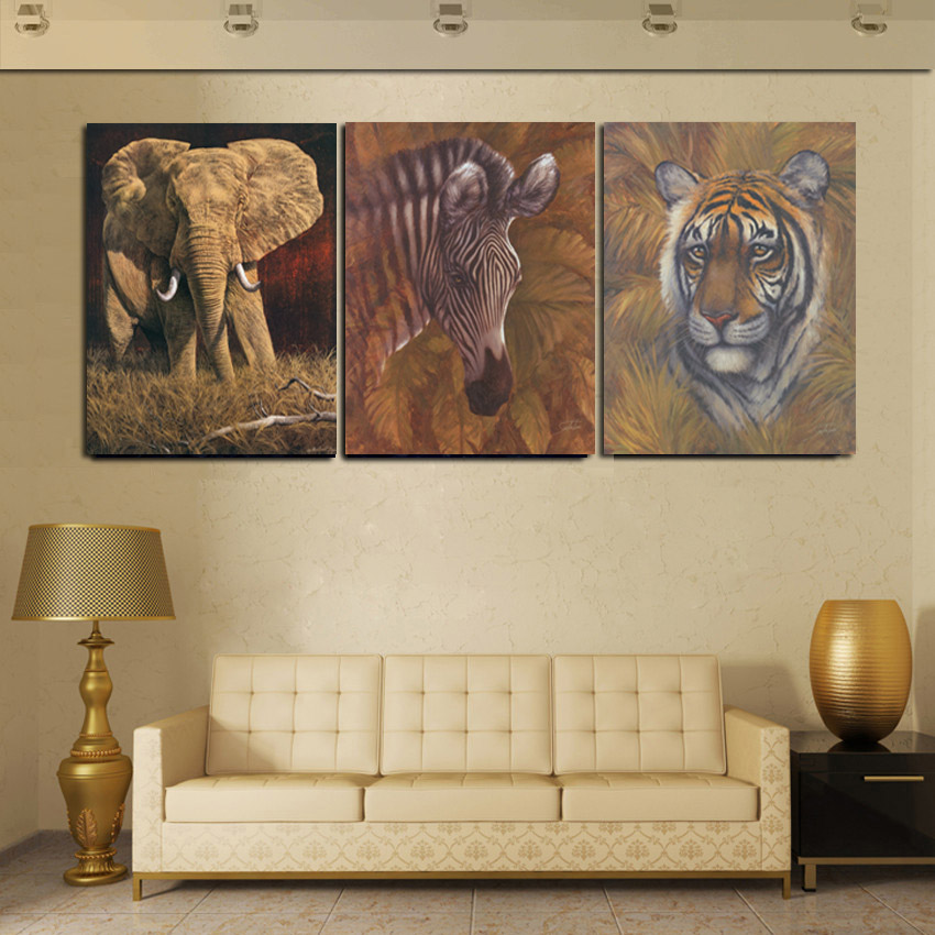 Modern Abstract Animal Paintings 3 Piece Canvas Print Tiger Elephant ...