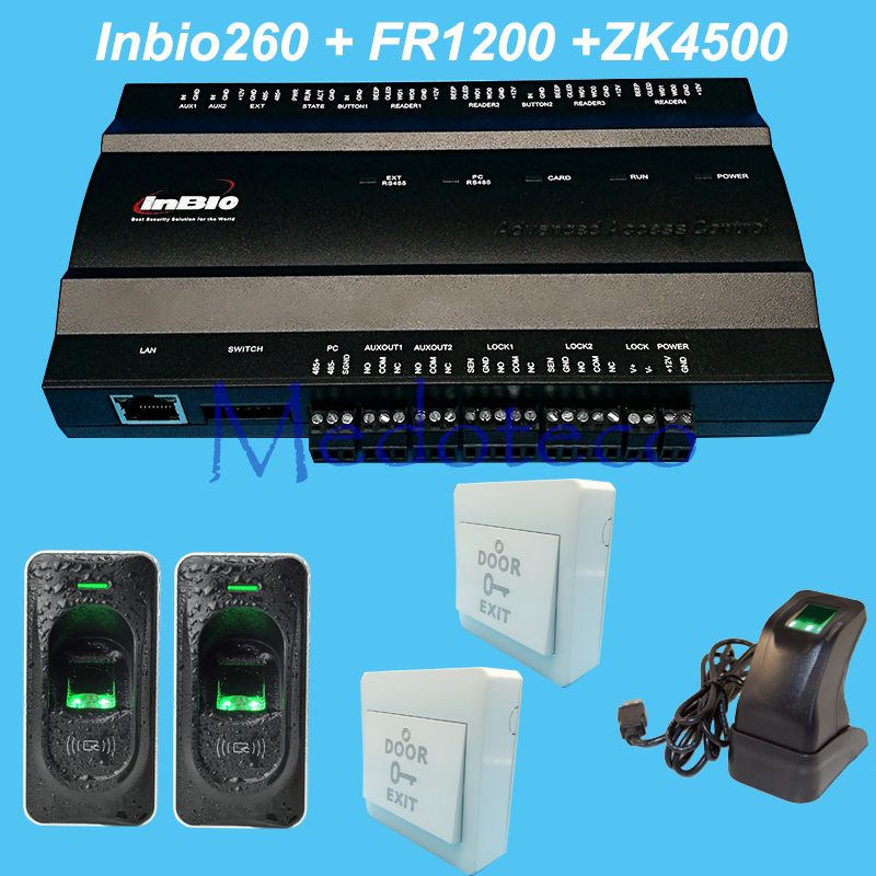 INBIO260 fingerprint Access control panel fingerprint reader FR1200 Fingerprint Two Door Access Control System Kit biometric face and fingerprint access controller tcp ip zk multibio700 facial time attendance and door security control system