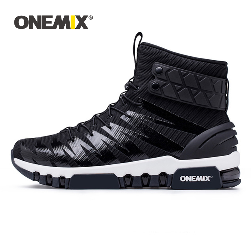 ONEMIX Men Boots Running Shoes Women Sneakers High Top Winter Snow Boots Outdoor Waterproof Walking Trekking Sneaker Big Size 46