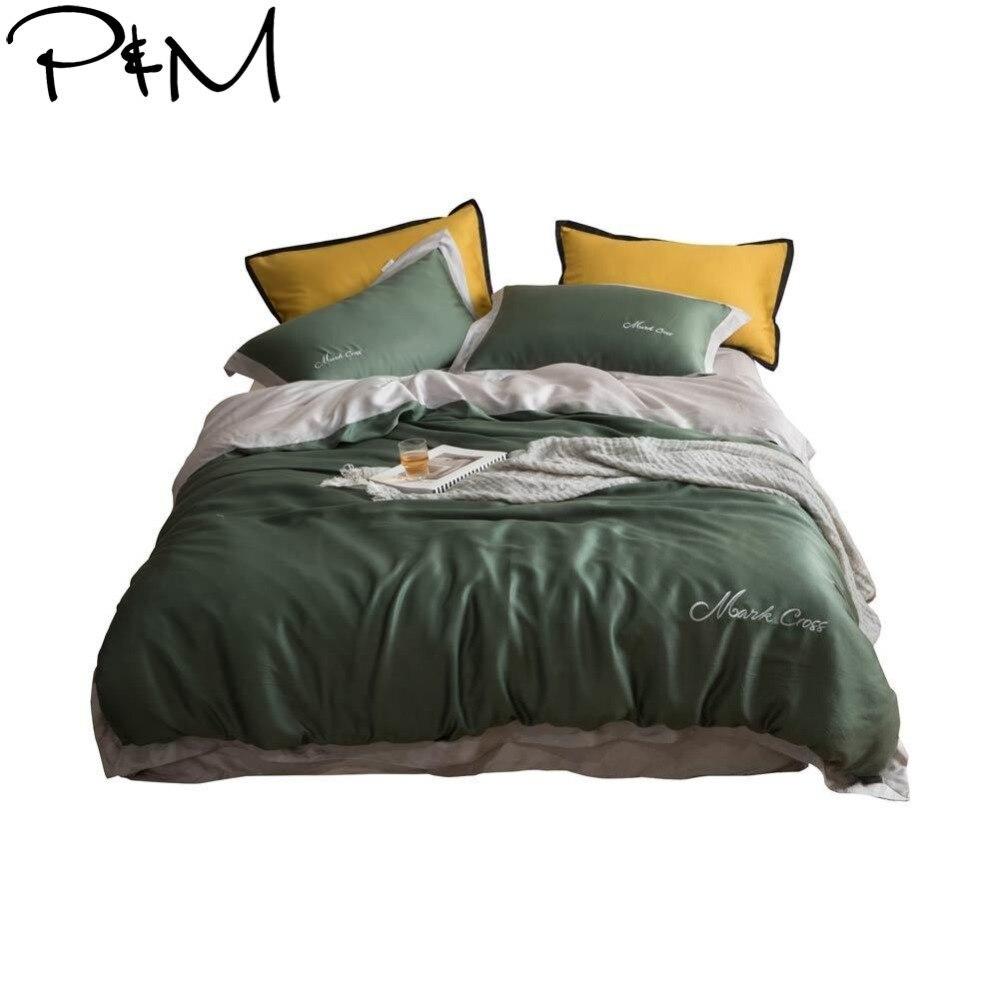 2019 vert foncé gris scandinave literie reine roi taille artificielle soie housse de couette ensemble lit couverture literie ensemble taies d'oreiller