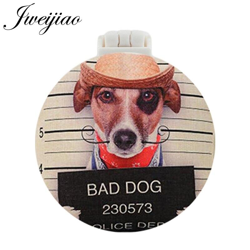 JWEIJIAO BAD DOG Art Photo UV Printed Pocket Mirror With Massage Comb Mini Round Folding Compact Portable Makeup Vanity mirror