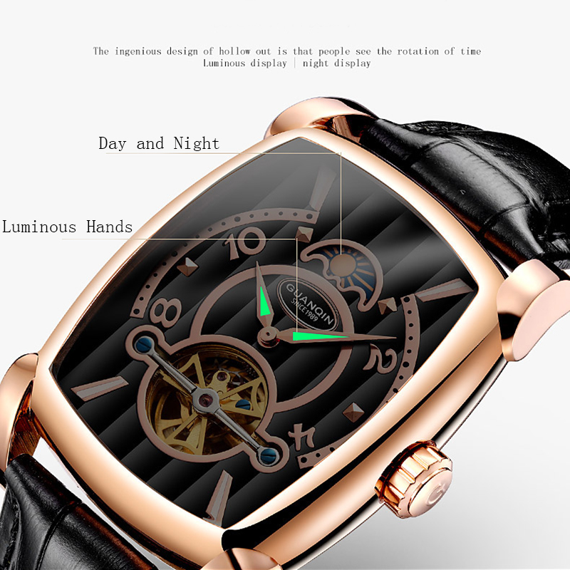 GUANQIN Brand Mens Mechanical Watches Luxury 2018 Tourbillon Skeleton Automatic Watch Rectangle Leather Gold Male Clock Man