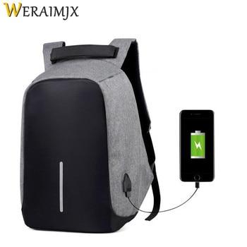4e794a3e4 Multifunción USB de carga de los hombres del ordenador portátil de 15  pulgadas mochilas 2018 robo de viaje mochila adolescente impermeable bolsa  de la ...