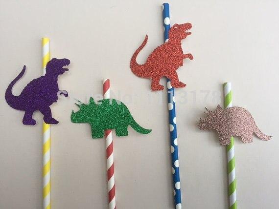 Custom Goedkope Glitter Dinosaurus Papier Rietjes-childrens Jongens Party Bruiloft, Verloving, Verjaardag, Baby Shower Stro Opruimingsprijs