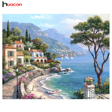 Diamond Painting Scenic 5D Diamond Embroidery Seaside Rhinestones Cross Stitch Full Square Drill Diamonds მოზაიკის სახლის დეკორაცია