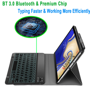 Image 2 - Case for Samsung Galaxy Tab S4 10.5 Keyboard Case T830 T835 SM T830 SM T835 Cover 7 Colors Backlit Bluetooth Keyboard Funda