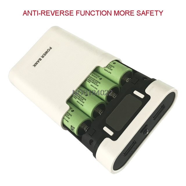 Kép USB LCD Chống ngược Điện Cầm Tay Ngân Hàng Hộp 4x18650 TỰ LÀM Hiển Thị Battery Charger 5 V 2A powerbank Trường Hợp Với ĐÈN LED Đèn Pin
