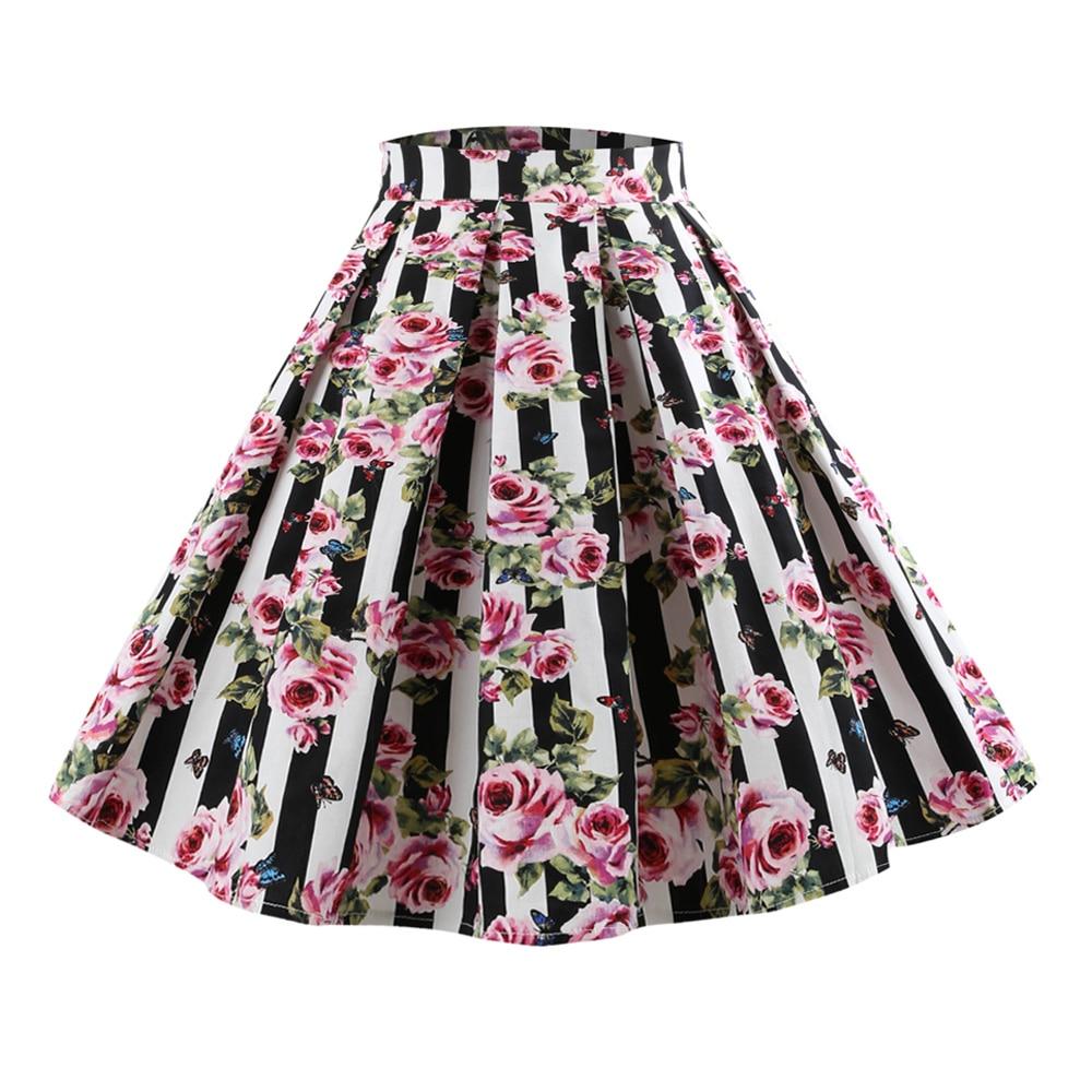 Detail Feedback Questions about Kenancy Plus Size 4XL 5XL Floral Print  Vintage Skirt Women Summer Cotton Retro Skirts High Waist A Line Skirts  Feminino ... ec7dd9177dac