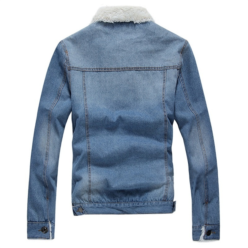Image 3 - Men Jacket and Coat Trendy Warm Fleece Denim Jacket 2019 Winter Jean Jacket Thick Winter Coat For Male Classic Solid Outerwear-in Jackets from Men's Clothing