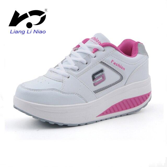 cc0525642 Mulheres Correndo Sapatos de Plataforma Balanço de Calçados Esportivos  Femininos Respirável Ao Ar Livre Tênis De
